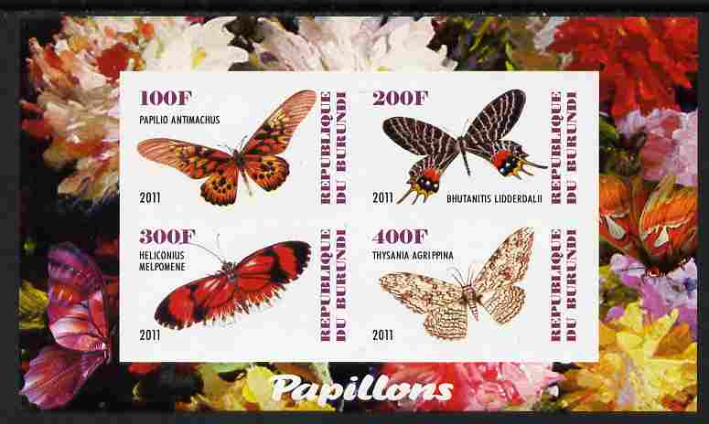 Burundi 2011 Fauna of the World - Butterflies #5 imperf sheetlet containing 4 values unmounted mint