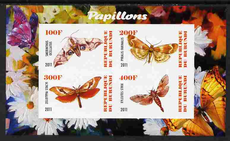Burundi 2011 Fauna of the World - Butterflies #6 imperf sheetlet containing 4 values unmounted mint