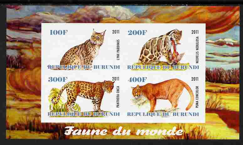 Burundi 2011 Fauna of the World - Wild Cats #3 imperf sheetlet containing 4 values unmounted mint