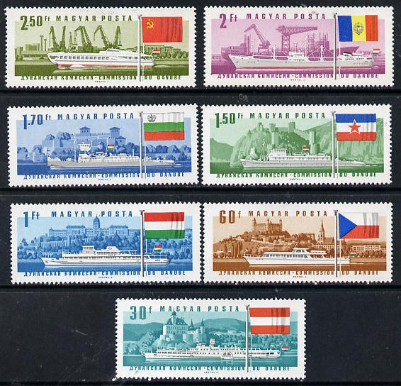 Hungary 1967 Danube Commission (Ships with Flags) perf set of 7 unmounted mint, Mi 2323-29