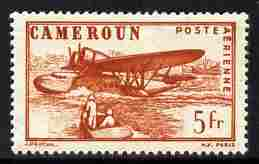 Cameroun 1941 Sikorsky S-43 Flying Boat 5f red-brown perforated proof similar to SG Type 29c but without RF mounted mint