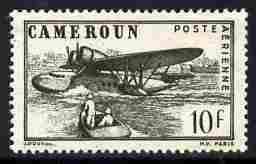 Cameroun 1941 Sikorsky S-43 Flying Boat 10f greenish-black perforated proof similar to SG Type 29c but without RF mounted mint