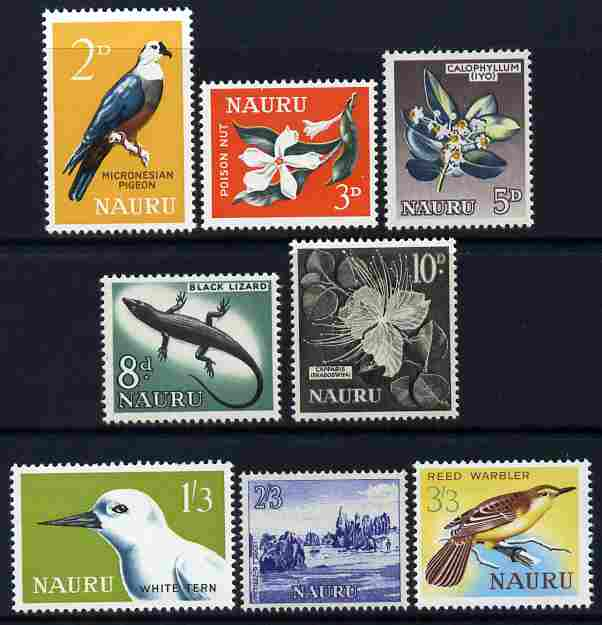 Nauru 1963-65 definitive set of 8 values complete unmounted mint SG 57-64, stamps on birds, stamps on lizards, stamps on reptiles, stamps on flowers