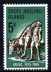 Cocos (Keeling) Islands 1965 50th Anniversary of Gallipoli Landing 5d unmounted mint SG 7