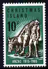 Christmas Island 1965 50th Anniversary of Gallipoli Landing 10c unmounted mint SG 21