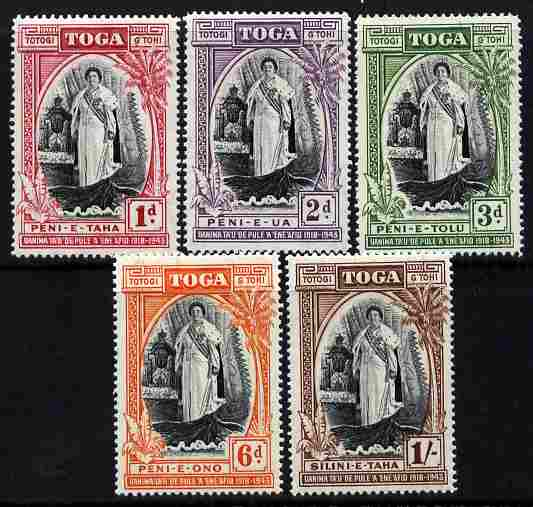 Tonga 1944 Silver Jubilee of Queen Salote's Accession perf set of 5 unmounted mint SG 83-87