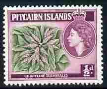 Pitcairn Islands 1963 Cordyline Def 1/2d Block watermark unmounted mint SG 33