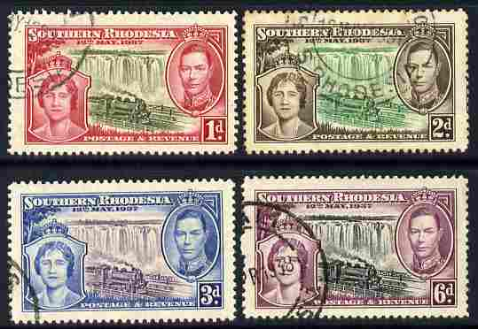 Southern Rhodesia 1937 KG6 Coronation perf set of 4 fine cds used, SG 36-39
