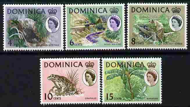 Dominica 1966-67 Pictorial Defs set of 5 with sideways watermark unmounted mint SG 200-204