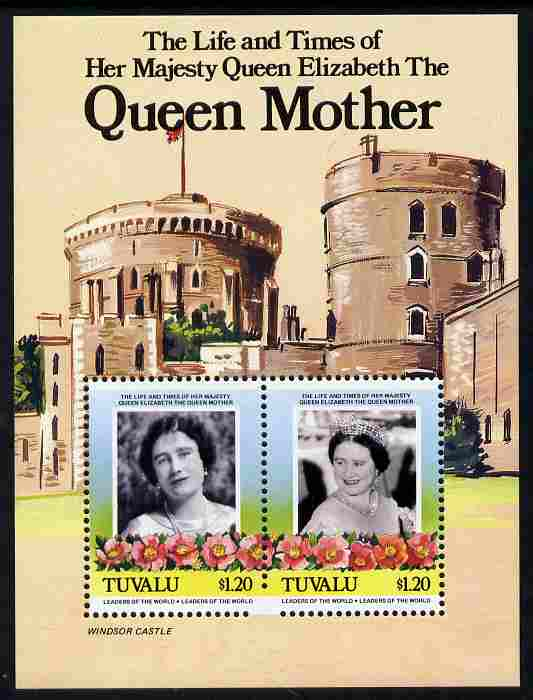 Tuvalu 1985 Life & Times of HM Queen Mother (Leaders of the World) m/sheet showing Windsor Castle, partially imperf at base probably due to several broken perf pins unmounted mint, as SG MS 342