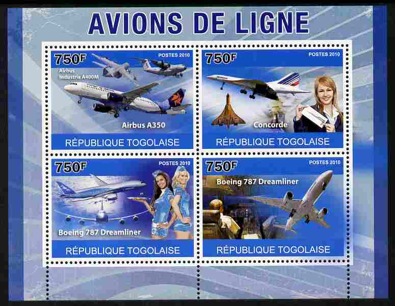 Togo 2010 Airliners perf sheetlet containing 4 values unmounted mint