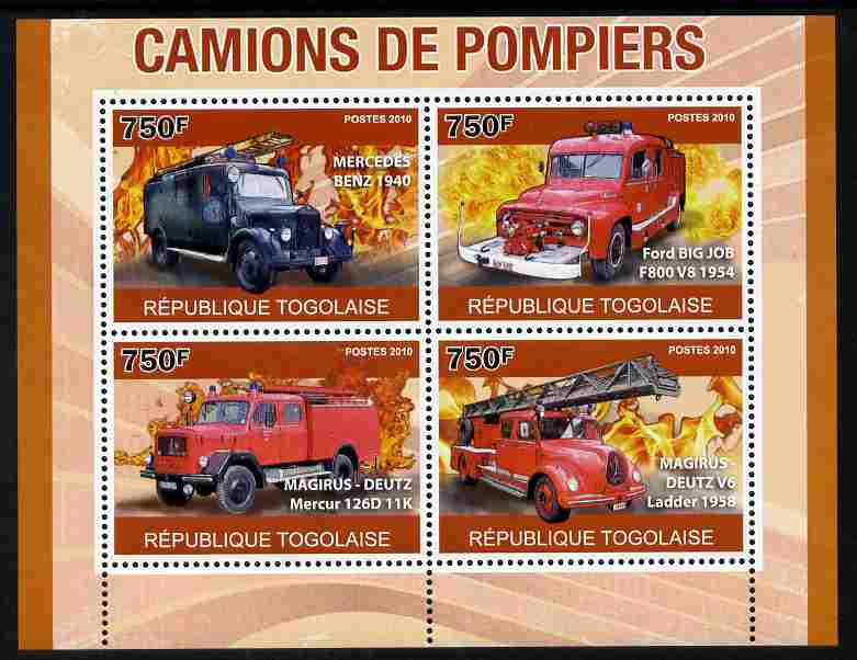 Togo 2010 Fire Trucks perf sheetlet containing 4 values unmounted mint