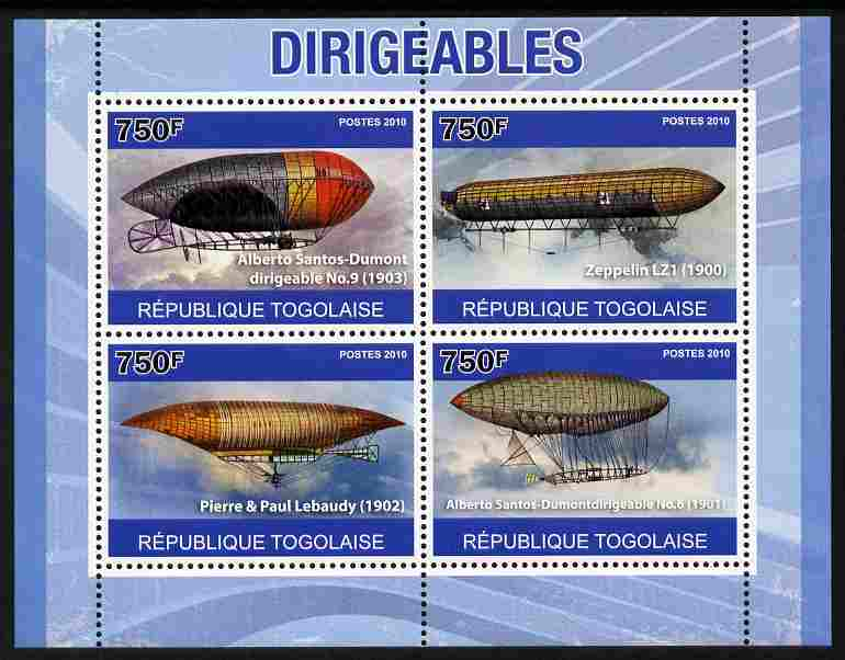 Togo 2010 Dirigibles perf sheetlet containing 4 values unmounted mint , stamps on transport, stamps on aviation, stamps on airships, stamps on zeppelins