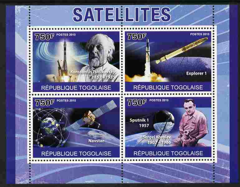 Togo 2010 Satellites perf sheetlet containing 4 values unmounted mint