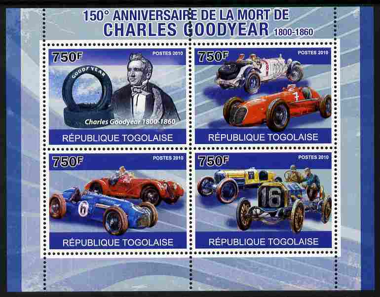 Togo 2010 150th Death Anniversary of Charles Goodyear perf sheetlet containing 4 values unmounted mint