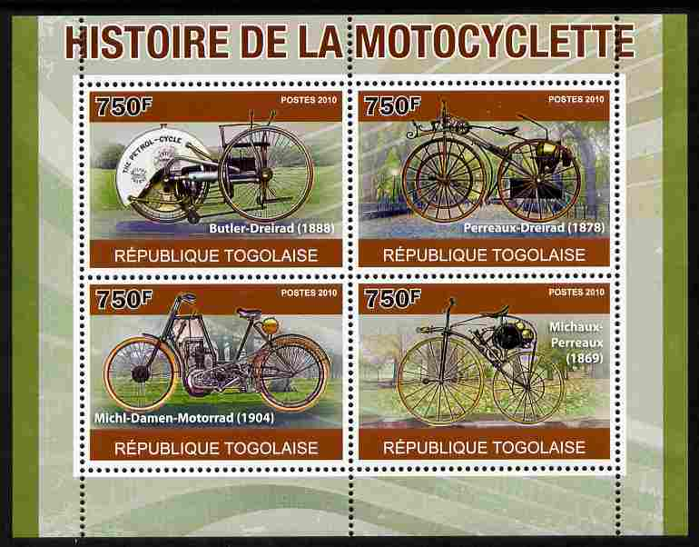 Togo 2010 History of the Motorcycle perf sheetlet containing 4 values unmounted mint