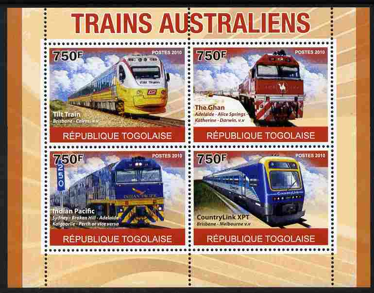 Togo 2010 Australian Trains perf sheetlet containing 4 values unmounted mint