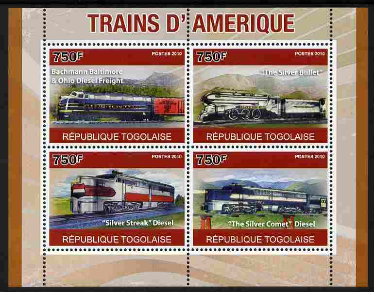 Togo 2010 American Trains perf sheetlet containing 4 values unmounted mint