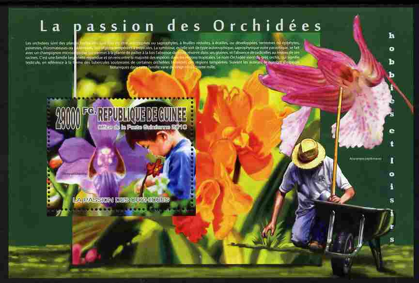Guinea - Conakry 2010 The Passion of Orchids perf m/sheet unmounted mint
