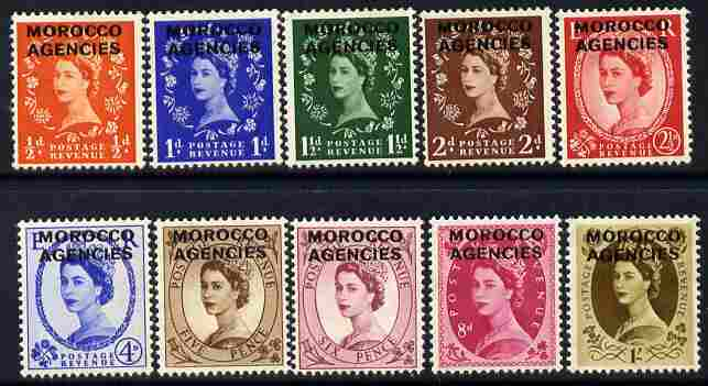 Morocco Agencies - British Currency 1952-55 QEII def set complete 10 values mounted mint SG 101-10
