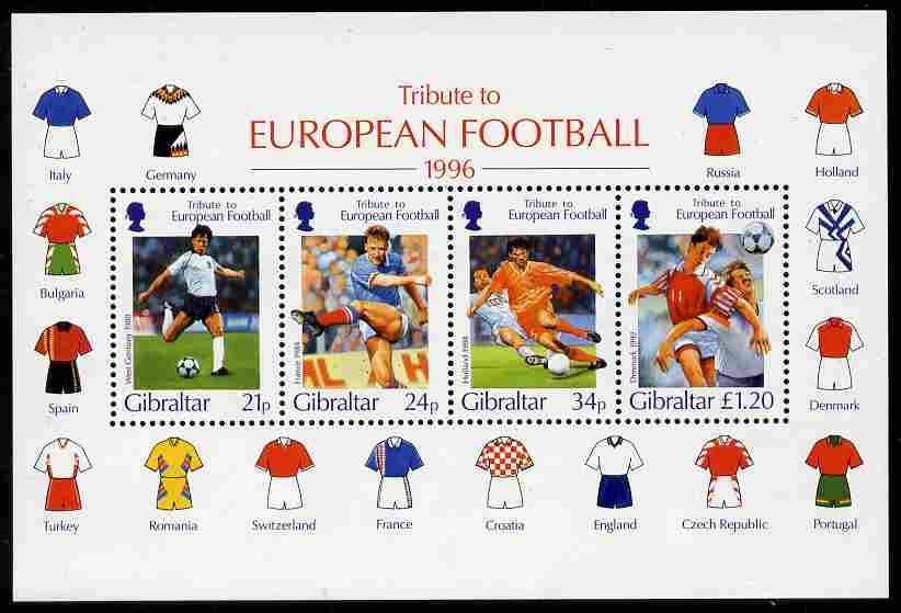 Gibraltar 1996 Football European Championship perf m/sheet unmounted mint SG MS775