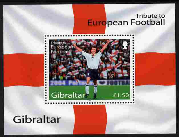 Gibraltar 2004 Football European Championship perf m/sheet (\A31.50 value) unmounted mint SG MS1087a