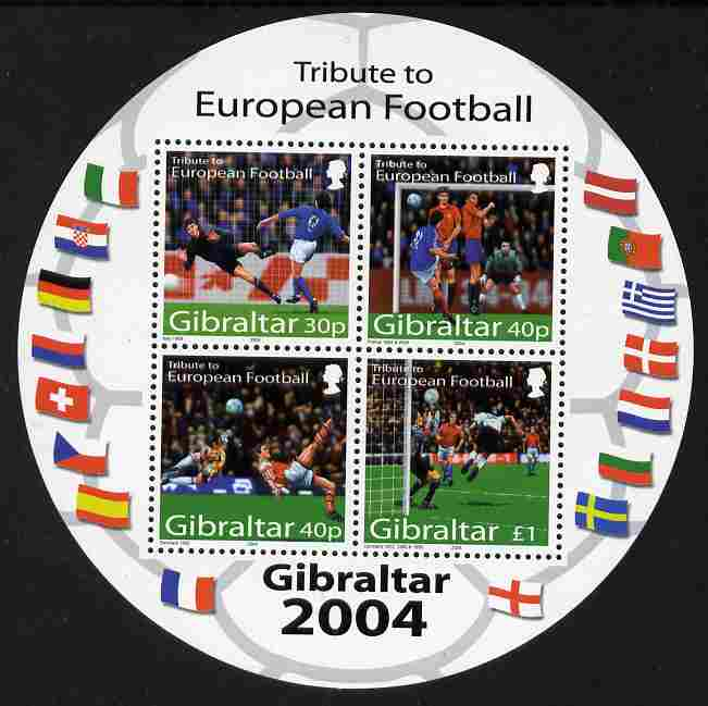 Gibraltar 2004 Football European Championship perf m/sheet (containing set of 4 in circular shaped sheet) unmounted mint SG MS1087b