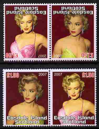 Easdale 2007 Marilyn Monroe \A31.50 #1 perf se-tenant pair with images transposed and Country, value & date inverted complete with normal pair, both unmounted mint