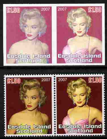 Easdale 2007 Marilyn Monroe \A31.50 #1 imperf se-tenant pair with superb dry print with normal perf pair, both unmounted mint