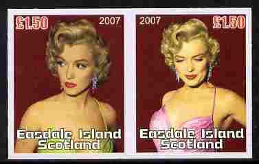 Easdale 2007 Marilyn Monroe \A31.50 #1 imperf se-tenant pair unmounted mint