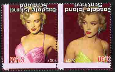 Easdale 2007 Marilyn Monroe \A31.50 #1 perf se-tenant pair with images transposed and Country, value & date inverted showing a fine misplacement of perforations, unmounted mint