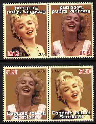 Easdale 2007 Marilyn Monroe \A31.50 #2 perf se-tenant pair with images transposed and Country, value & date inverted complete with normal pair, both unmounted mint