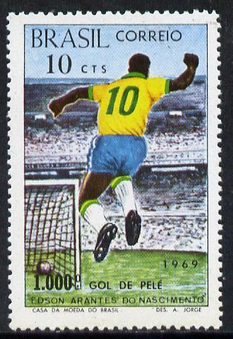 Brazil 1969 Football (Pele's 1,000th Goal) unmounted mint SG 1277*