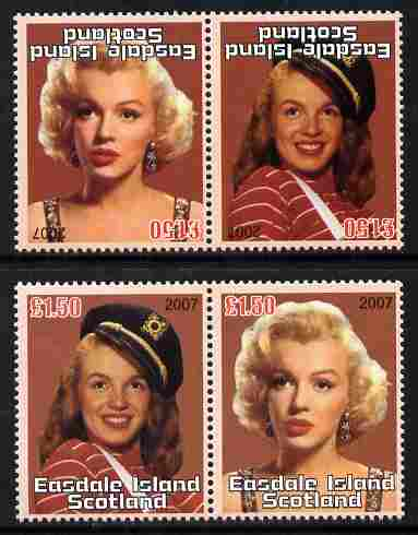 Easdale 2007 Marilyn Monroe \A31.50 #3 perf se-tenant pair with images transposed and Country, value & date inverted complete with normal pair, both unmounted mint
