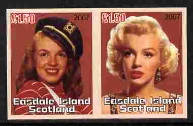 Easdale 2007 Marilyn Monroe \A31.50 #3 imperf se-tenant pair unmounted mint