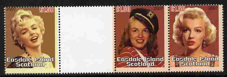 Easdale 2007 Marilyn Monroe \A31.50 #3 perf se-tenant pair in gutter strio with one value of Marilyn #2, from uncut proof sheet unmounted mint