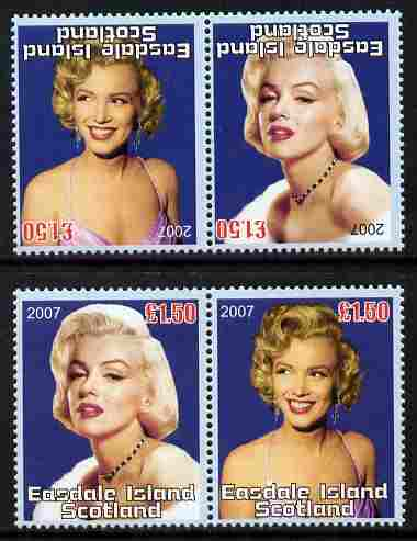 Easdale 2007 Marilyn Monroe \A31.50 #4 perf se-tenant pair with images transposed and Country, value & date inverted complete with normal pair, both unmounted mint