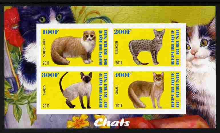 Burundi 2011 Domestic Cats #2 - yellow background imperf sheetlet containing 4 values unmounted mint