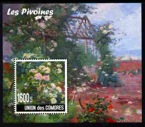 Comoro Islands 2009 Flowers of China - Peonies perf m/sheet unmounted mint, Michel BL 559