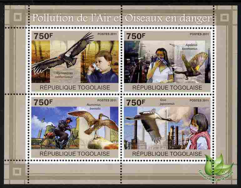 Togo 2011 Air Pollution & Endangered Birds perf sheetlet containing 4 values unmounted mint