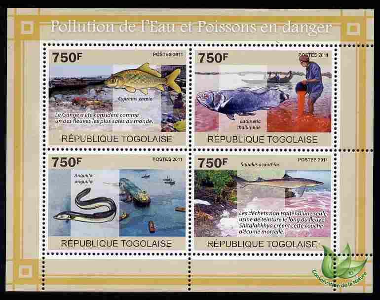 Togo 2011 Water Pollution & Endangered Fishes perf sheetlet containing 4 values unmounted mint