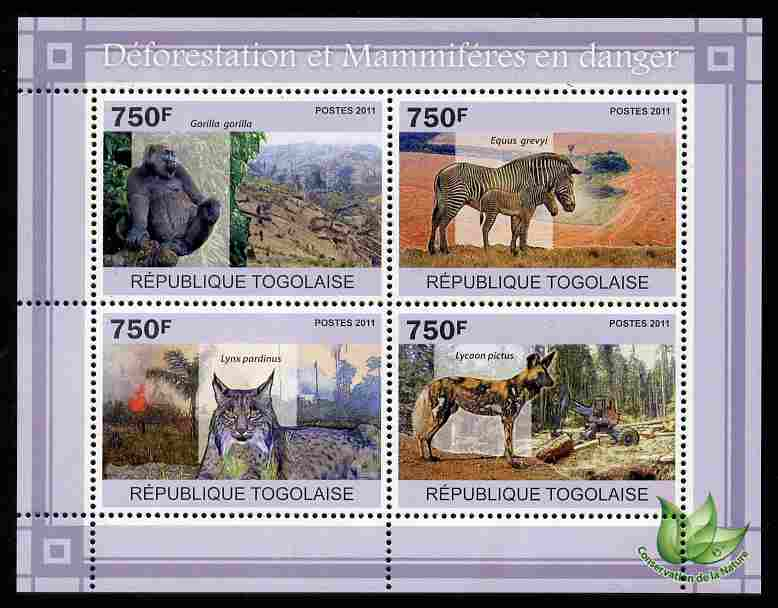 Togo 2011 Environment - Deforestation & Endangered Mammals perf sheetlet containing 4 values unmounted mint