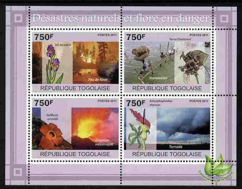 Togo 2011 Natural Disasters & Endangered Flora perf sheetlet containing 4 values unmounted mint