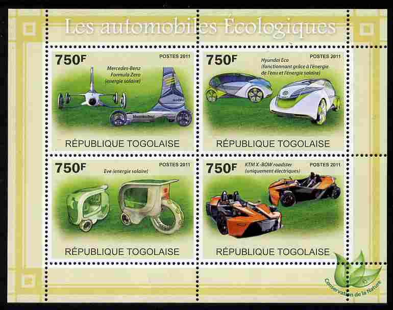 Togo 2011 Ecological Cars perf sheetlet containing 4 values unmounted mint