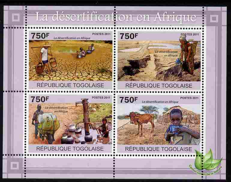 Togo 2011 Environment - Desertification in Africa perf sheetlet containing 4 values unmounted mint