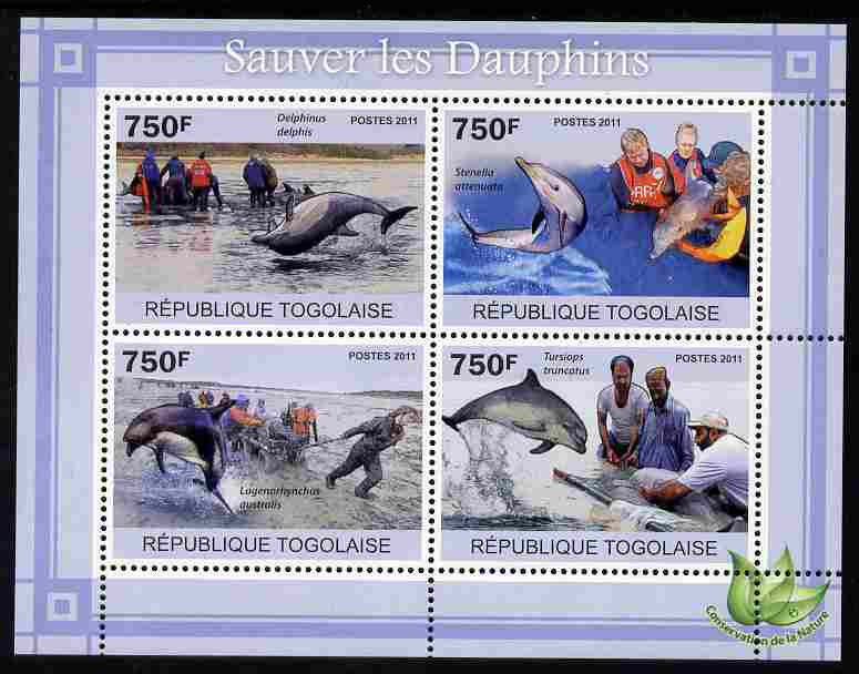 Togo 2011 Save the Dolphins perf sheetlet containing 4 values unmounted mint