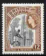 British Guiana 1954-63 Felling Greenheart 12c black & light brown unmounted mint SG 338a