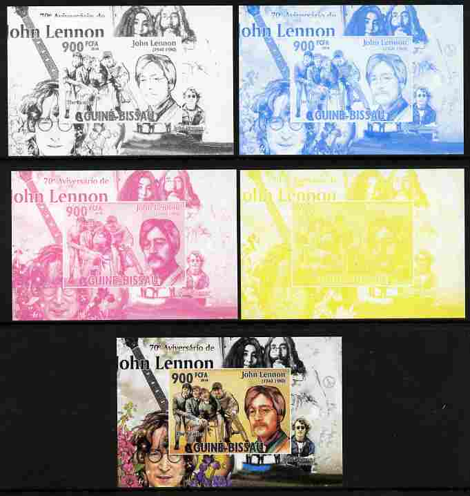 Guinea - Bissau 2010 John Lennon 70th Birth Anniversary #3 individual deluxe sheet - the set of 5 imperf progressive proofs comprising the 4 individual colours plus all 4-colour composite, unmounted mint