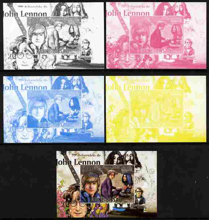 Guinea - Bissau 2010 John Lennon 70th Birth Anniversary #4 individual deluxe sheet - the set of 5 imperf progressive proofs comprising the 4 individual colours plus all 4-colour composite, unmounted mint