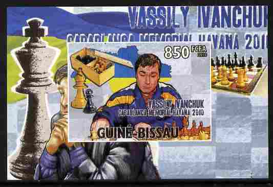 Guinea - Bissau 2010 Chess - Vassily Ivanchuk #4 individual imperf deluxe sheet unmounted mint. Note this item is privately produced and is offered purely on its thematic appeal